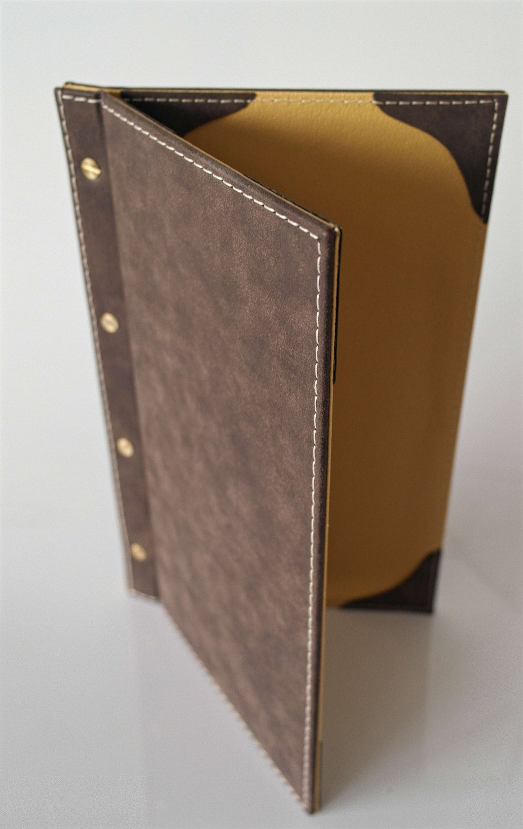 Set of 25, Wine List Covers for Double Menu Hardcover Suede Design with Gold Screw Available in 11 colors - Rattanglobal