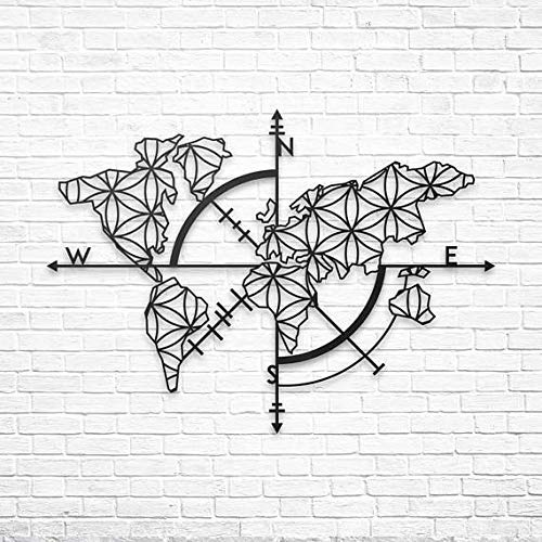 Antdecor Metal Wall Art, World Map and Compass Themed Wall Decor 100x70cm 38