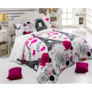 Paris Eiffel Theme Bedding Cover Duver Sets With Comforter Options All Series Available With Best Price - Rattanglobal