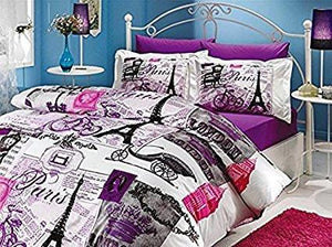 Paris Eiffel Tower Vintage Purple Theme Themed Full Double Queen Size Quilt Duvet Cover Set Bedding - Rattanglobal