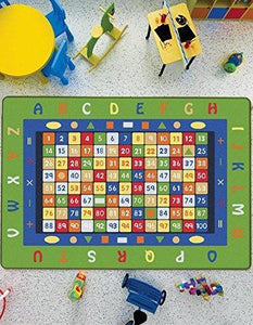 "Math Design Kids Rugs Anti Slip Anti Alergetic Game Carpets for Kids 79""X114"" 200X290cm - Rattanglobal"