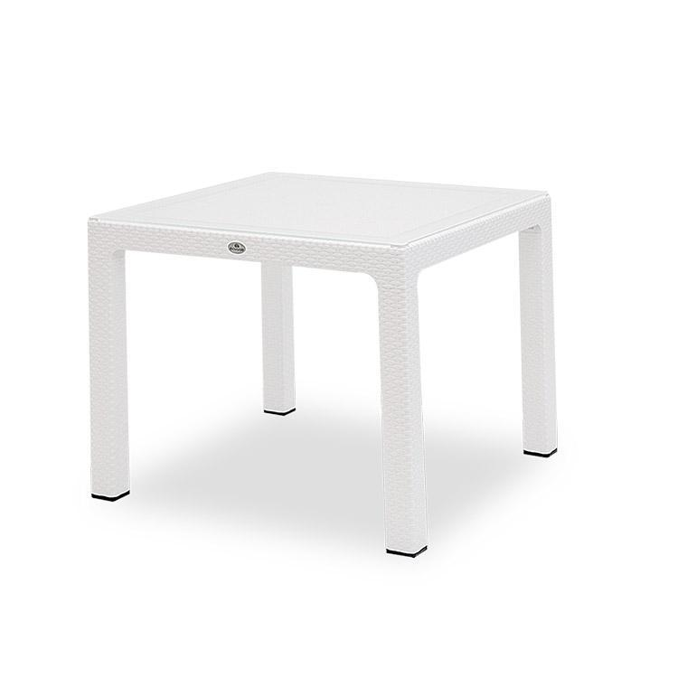 Novussi Classi 90 Rattan White Table With Glass Outdoor Garden Furnitures Collections 35