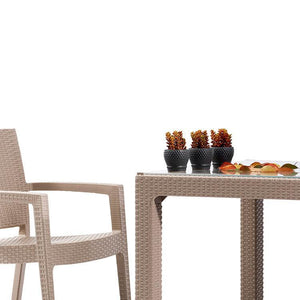 "Novussi Classi 90 Rattan Cappucino Table With Glass Outdoor Garden Furnitures Collections 35""x35"" ( 90x90cm) - Rattanglobal"