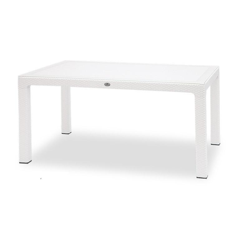 Novussi Classi G90 Rattan White Table With Glass Outdoor Garden Furnitures Collections 35