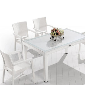 "Novussi Classi G90 Rattan White Table With Glass Outdoor Garden Furnitures Collections 35""x59"" ( 90x150cm) - Rattanglobal"