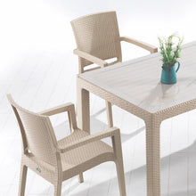 "Load image into Gallery viewer, Novussi Classi G90 Rattan Cappucino Table With Glass Outdoor Garden Furnitures Collections 35""x59"" ( 90x150cm) - Rattanglobal"