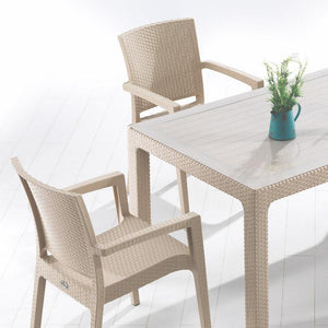 "Novussi Classi G90 Rattan Cappucino Table With Glass Outdoor Garden Furnitures Collections 35""x59"" ( 90x150cm) - Rattanglobal"