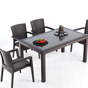 "Novussi Classi G90 Rattan Brown Table With Glass Outdoor Garden Furnitures Collections 35""x59"" ( 90x150cm) - Rattanglobal"