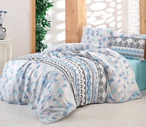 "House of Hampton Aria Blue Reversible Duvet Set Queen (78""x87"" / 200x220cm) Bedding Linens Set 4 Pcs."
