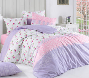 "House of Hampton Merry Lilac Reversible Duvet Set Queen (78""x87"" / 200x220cm ) Bedding Linens Set 4 Pcs."