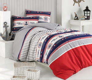 "House of Hampton Marine Reversible Duvet Set Queen (78""x87"" / 200x220cm ) Bedding Linens Set 4 Pcs."