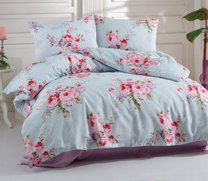 "House of Hampton Rose Aqua Reversible Duvet Set Queen (78""x87"" / 200x220cm ) Bedding Linens Set 4 Pcs."