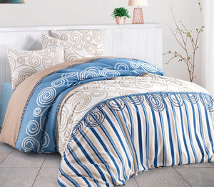 "House of Hampton Anemos Blue Reversible Duvet Set Queen (78""x87"" / 200x220cm ) Bedding Linens Set 4 Pcs."