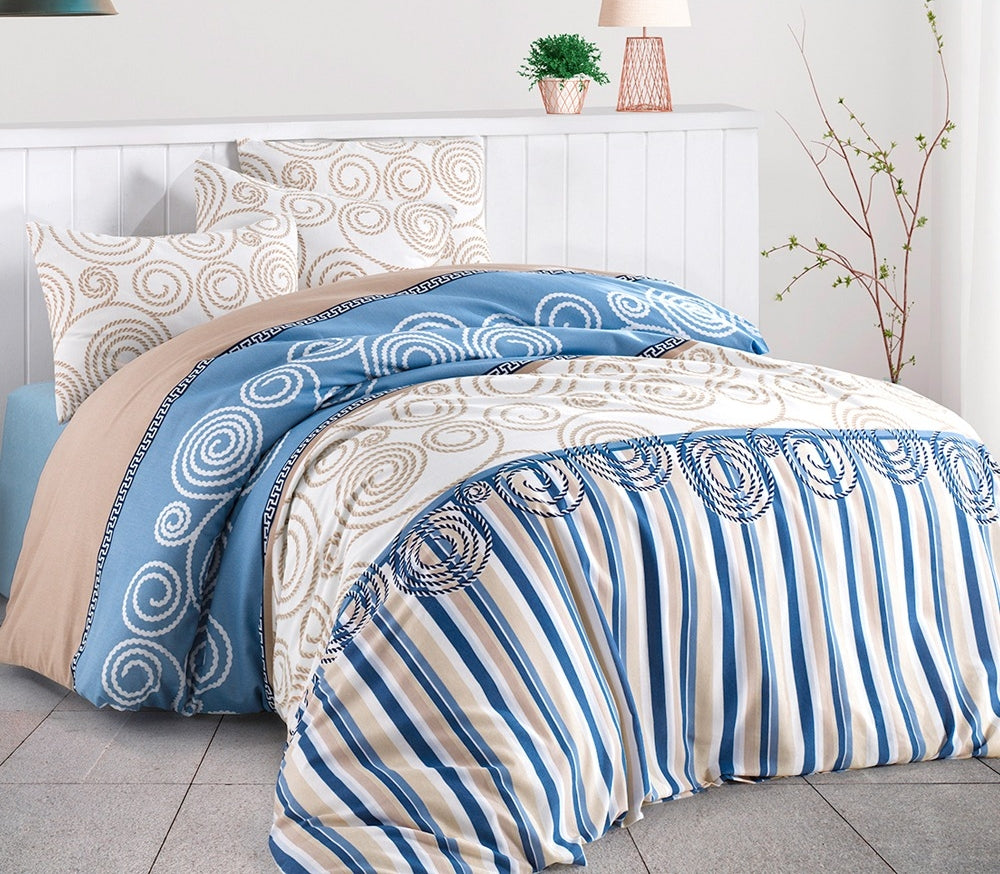 House of Hampton Anemos Blue Reversible Duvet Set Queen (78