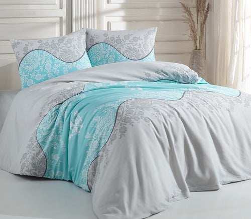 House of Hampton Classi Aqua Reversible Duvet Set Queen (78