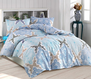 "House of Hampton Damask Blue Reversible Duvet Set Queen (78""x87"" / 200x220cm ) Bedding Linens Set 4 Pcs."