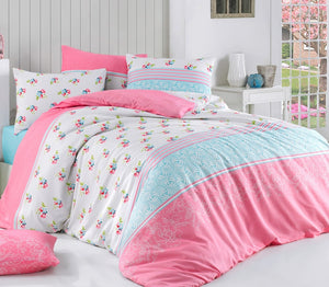 "House of Hampton Merry Pink Reversible Duvet Set Queen (78""x87"" / 200x220cm ) Bedding Linens Set 4 Pcs."
