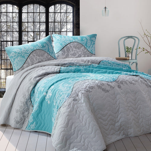 House of Hampton Damask Blue Bedding Cover Set Queen (78