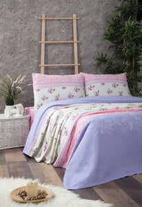 "House of Hampton Aqua Lilac Pique Cover Set Queen (86""x95"" / 220x240cm ) Pique Set 4 Pcs."