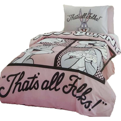 TAC Bugs Bunny Folk Theme licensed Bedding Set Single Kids Bedding Set Twin (62,99''x86,61'') 160 x 220cm