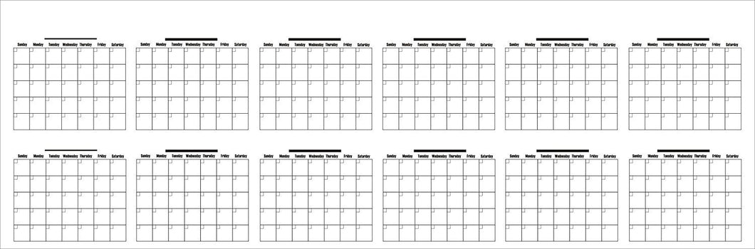 Dry Erase Extra Large Undated Yearly PVC Vinly Lamination Wall Calendar 36
