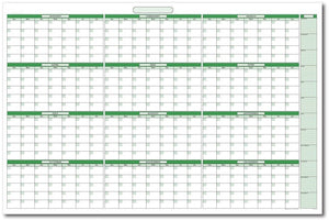 "UV Print 1mm PVC Erase Calendar 39"" x 55"" with January -December. No Ghosting/Staining! - Rattanglobal"