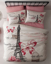 Load image into Gallery viewer, Paris Eiffel Tower Theme Themed Pink Butterfly Full Double Queen Size Quilt Duvet Cover Set Bedding - Rattanglobal