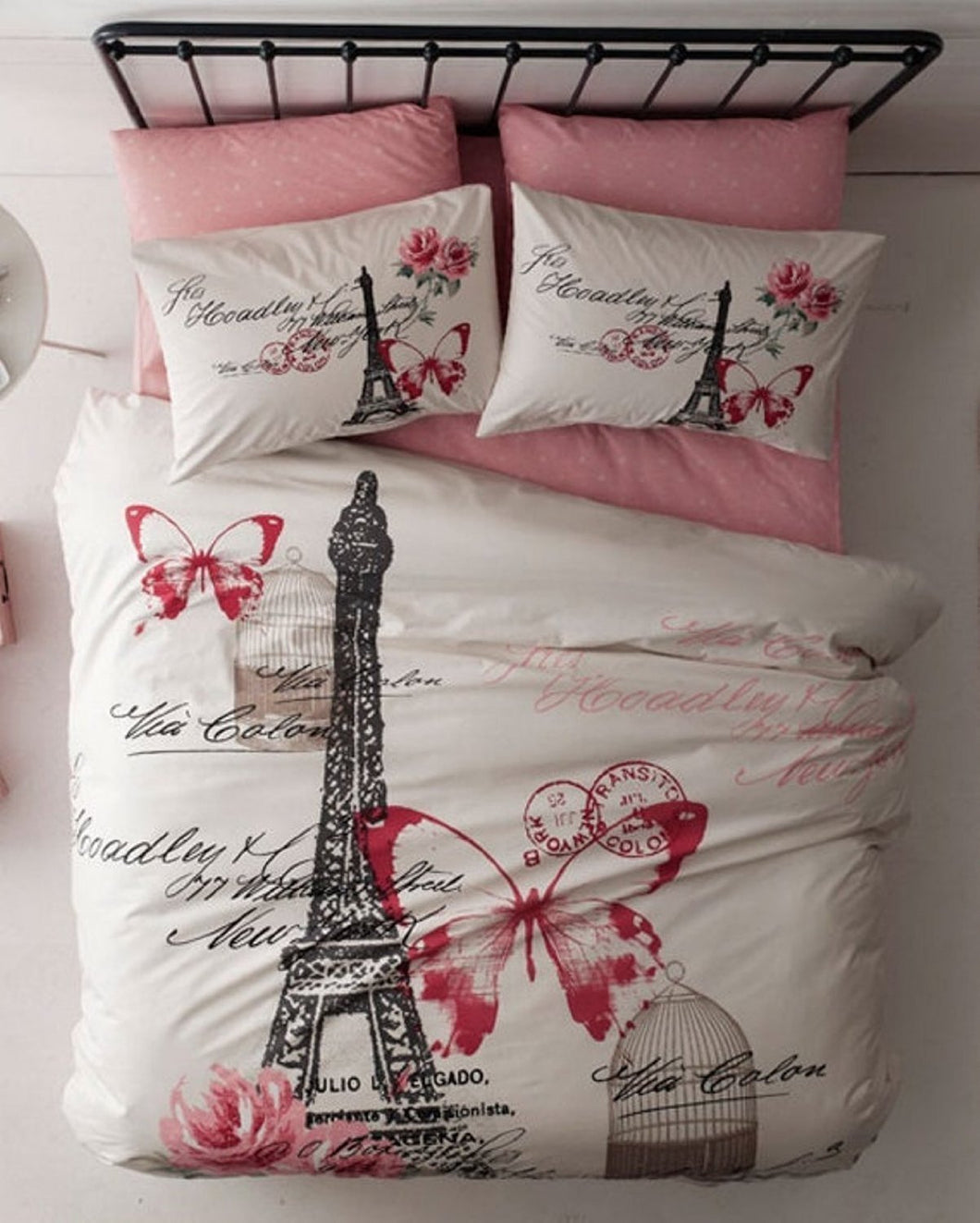 Paris Eiffel Tower Theme Themed Pink Butterfly Full Double Queen Size Quilt Duvet Cover Set Bedding - Rattanglobal