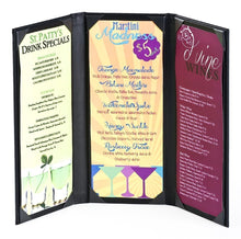 Load image into Gallery viewer, (15 pcs.) Wine List Menu Covers with 3-Panel, 3-Page View Design, Hardback Bar Menu - Rattanglobal