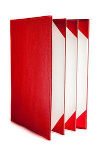 "Menu Covers Made In Italian Faux Leather (10-Pack) - 8.5"" X 11"" - 6 Views Red - Rattanglobal"