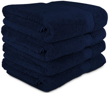 "Load image into Gallery viewer, Luxury Hotel & Spa Bath Towel Turkish Cotton, 30"" x 55"" ,Set of 4,Navy - Rattanglobal"