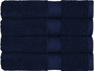 "Luxury Hotel & Spa Bath Towel Turkish Cotton, 30"" x 55"" ,Set of 4,Navy - Rattanglobal"