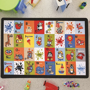 "Letter Blocks Design Kids Rugs Anti Slip Anti Alergetic Game Carpets for Kids 79""X114"" 200X290cm - Rattanglobal"