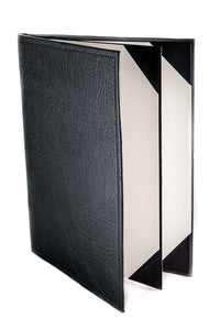 "Menu Covers Made In Italian Faux Leather (12-Pack) - 8.5"" X 11"" - 4 Views Black - Rattanglobal"