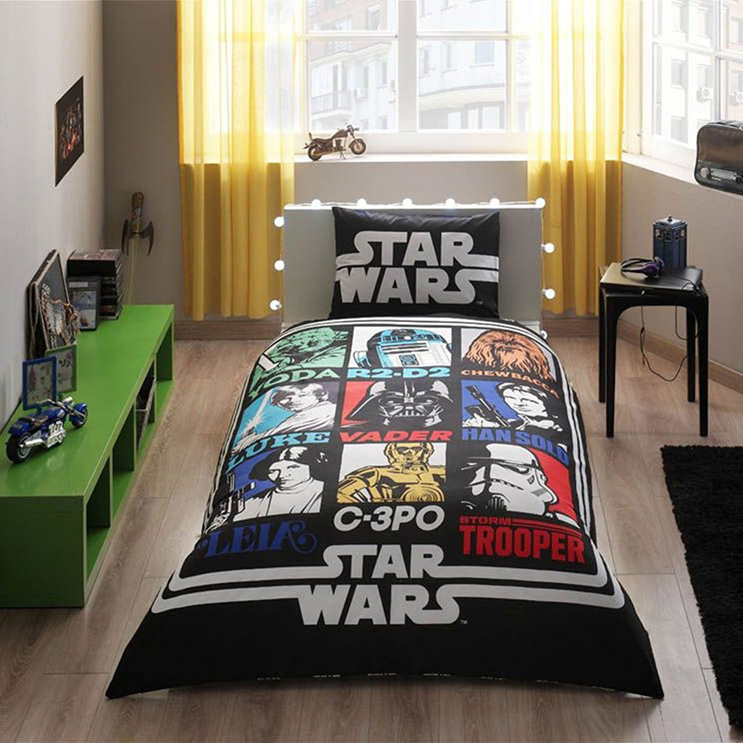 Star Wars Single Twin Size Duvet Quilt Cover Set Yoda Darth Vader Han Solo Storm Trooper Theme Bedding Linens - Rattanglobal