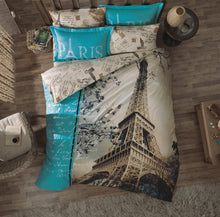 Load image into Gallery viewer, Paris in Love Bedding Set Full, 100% Turkish Cotton, Paris Eiffel Tower Themed Quilt/Duvet Cover Set, Paris Bedding Linens, COMFORTER INCLUDED 9 PCS - Rattanglobal