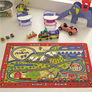 "Rugs for kids Railway Theme by Antdecor  3'x 5' 39""x 59"" 100x150 cm - Rattanglobal"