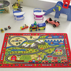 "Railway Game Theme Rugs for Kids Large Carpets 7'x10' 79""X114"" 200X290cm - Rattanglobal"