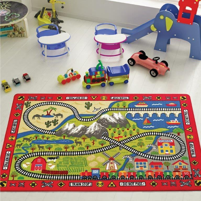 Railway Game Theme Rugs for Kids Large Carpets 7'x10' 79