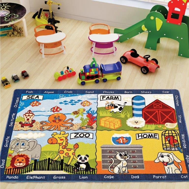 Animal World Game Theme Rugs for Kids Large Carpets 7'x10' 79