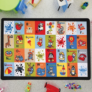 "Letter Blocks Learning Theme Rugs for Kids Large Carpets 7'x10' 79""X114"" 200X290cm - Rattanglobal"