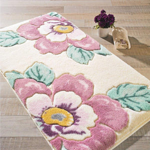 "Antdecor Damask Theme Non-Slip Bathroom Rug Shag Shower Mat Machine Washable Bath Mats with Water Absorbent Soft, 23"" W x 39"" 60x100 cm - Rattanglobal"