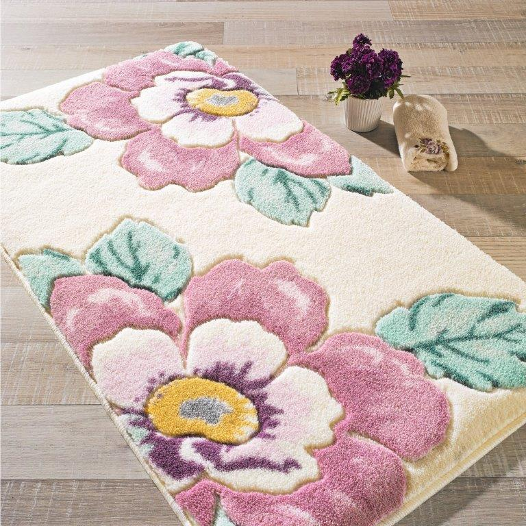 Antdecor Damask Theme Non-Slip Bathroom Rug Shag Shower Mat Machine Washable Bath Mats with Water Absorbent Soft, 23