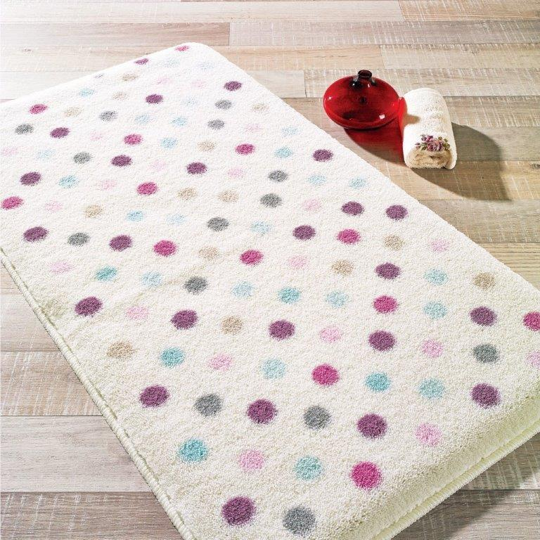 Antdecor Polka LilaTheme Non-Slip Bathroom Rug Shag Shower Mat Machine Washable Bath Mats with Water Absorbent Soft, 23