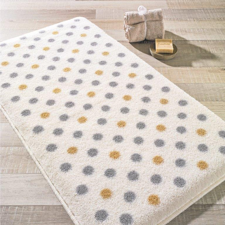 Antdecor Polka Gray Theme Non-Slip Bathroom Rug Shag Shower Mat Machine Washable Bath Mats with Water Absorbent Soft, 23