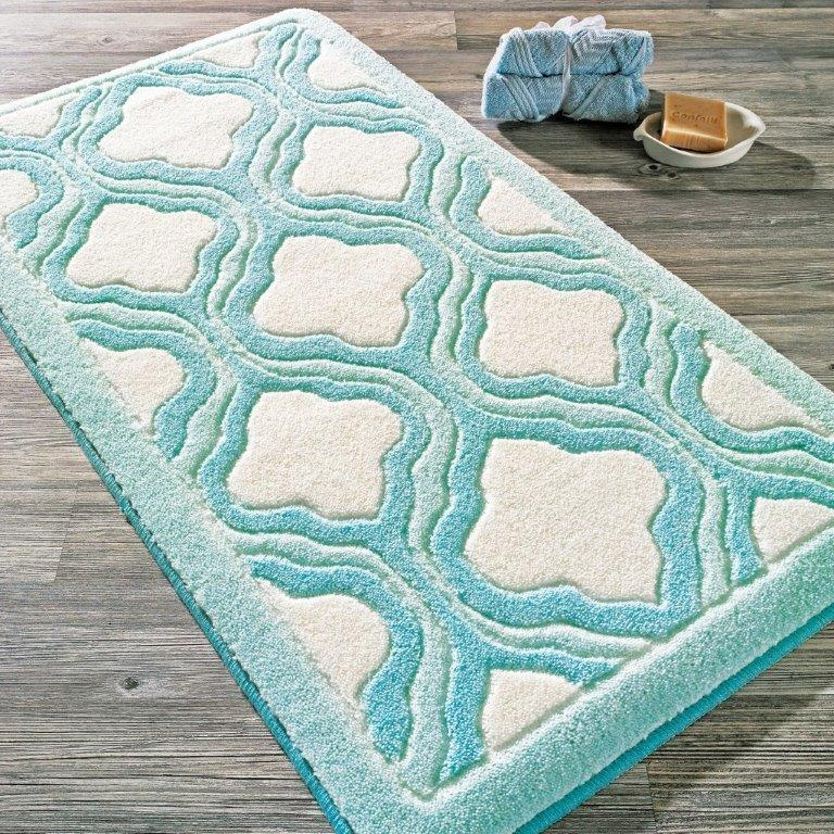 Antdecor Tiffany Theme Non-Slip Bathroom Rug Shag Shower Mat Machine Washable Bath Mats with Water Absorbent Soft, 23
