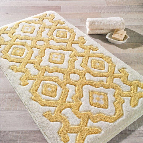 Antdecor Sierra Yellow Theme Non-Slip Bathroom Rug Shag Shower Mat Machine Washable Bath Mats with Water Absorbent Soft, 23