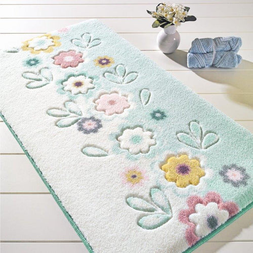 Antdecor Alessia Theme Non-Slip Bathroom Rug Shag Shower Mat Machine Washable Bath Mats with Water Absorbent Soft, 23
