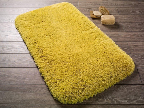 Antdecor Miami Yellow Theme Non-Slip Bathroom Rug Shag Shower Mat Machine Washable Bath Mats with Water Absorbent Soft, 23