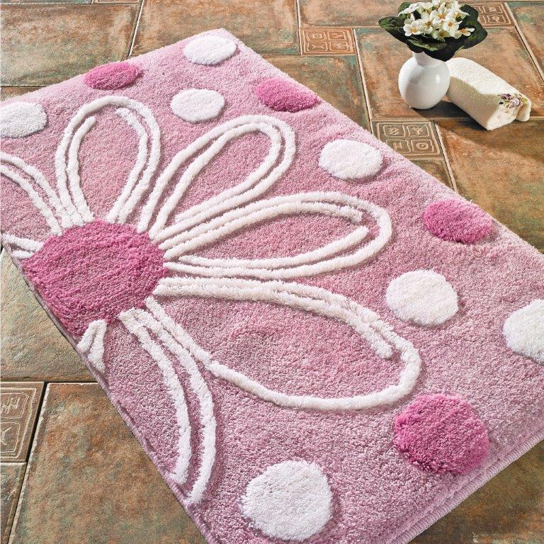 Antdecor Alinda Theme Non-Slip Bathroom Rug Shag Shower Mat Machine Washable Bath Mats with Water Absorbent Soft Microfibers, 23